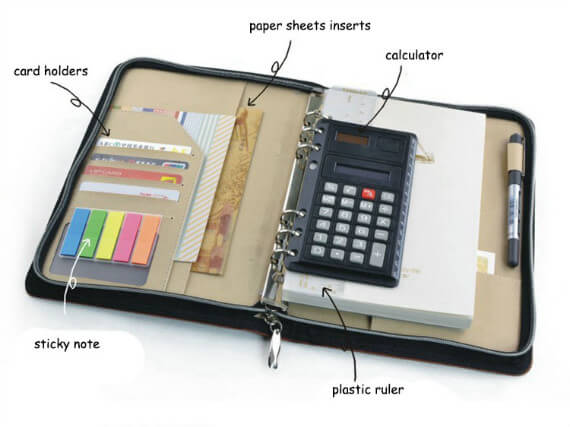 Folder Organizer Documents Holder with Calculator Professional Portfolio Effect picture
