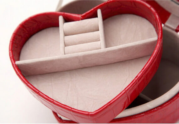 jewelry case customized heart shape pu decorate case Effect picture