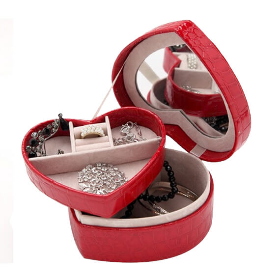jewelry case customized heart shape pu decorate case
