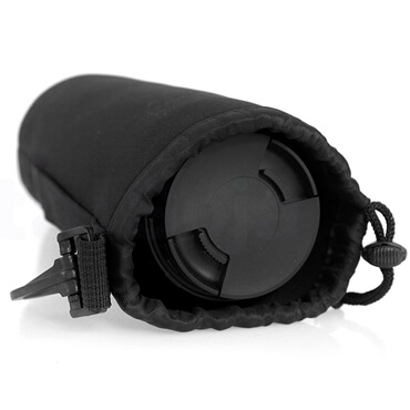 Drawstring Bag Protective Neoprene Pouch Bag For Camera Lens open