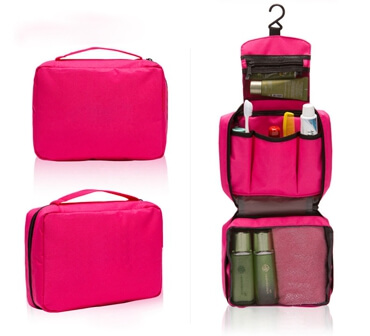 Toiletry Bag Compact Hanging Personal Care Cosmetic Pouch Bag pink