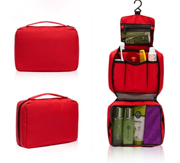 Toiletry Bag Compact Hanging Personal Care Cosmetic Pouch Bag red