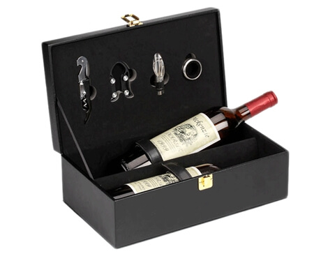 Two Bottle Cardboard Leather Bottle Glass Gift Wine Box open