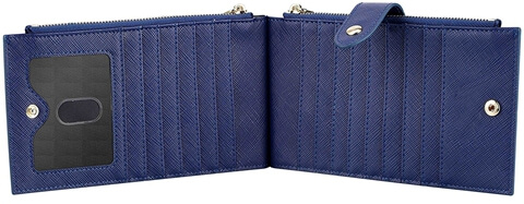 Genuine Leather RFID Travel Card Wallet blue