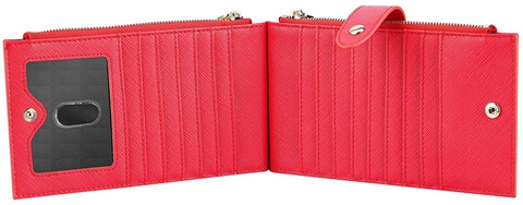 Genuine Leather RFID Travel Card Wallet red