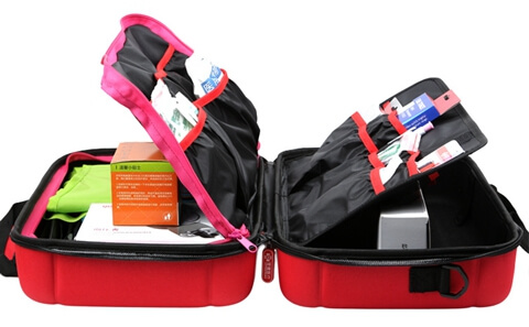 Travel Hard Case Cover First Aid Kit Bag open