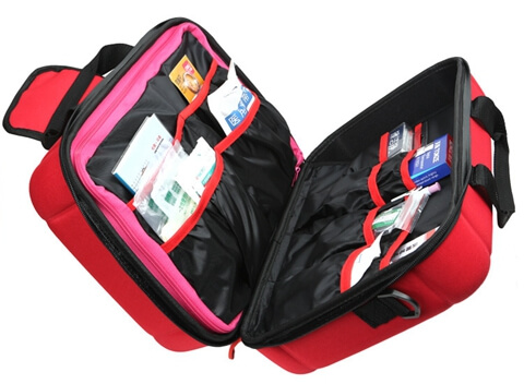Travel Hard Case Cover First Aid Kit Bag open again