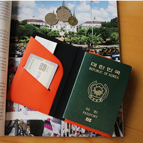 Personalized Leather Cover Passport Holder orange