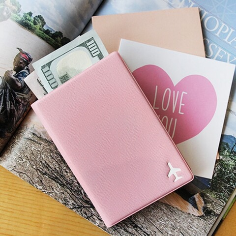 Personalized Leather Cover Passport Holder pink
