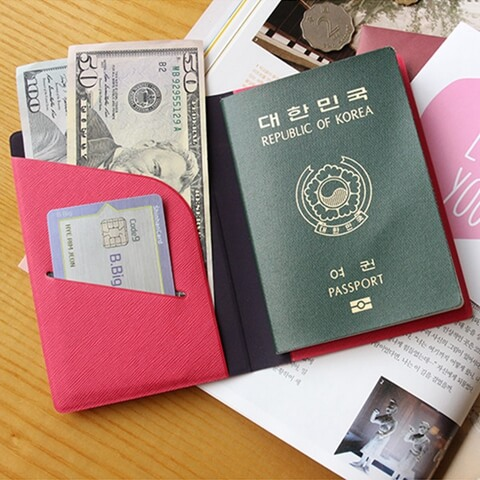 Personalized Leather Cover Passport Holder red