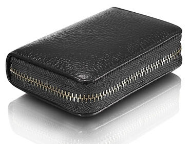 Leather Wallet ID Credit Card Holder zipper