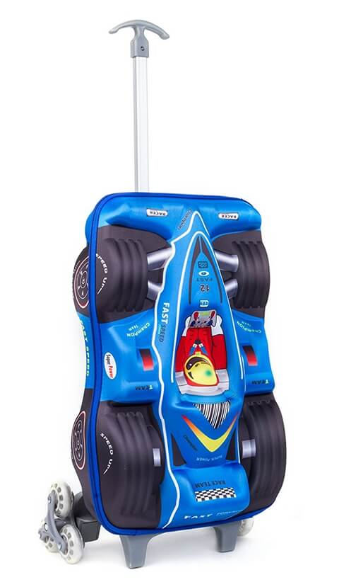 3D Car Racing Design Kid School Luggage front