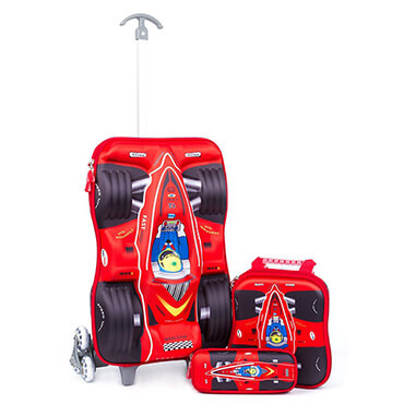 3D Car Racing Design Kid School Luggage