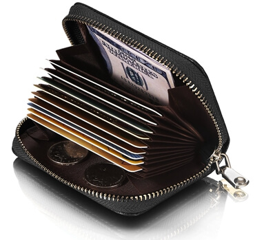 Leather Wallet ID Credit Card Holder  Effect picture